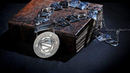 A medallion on a bible.