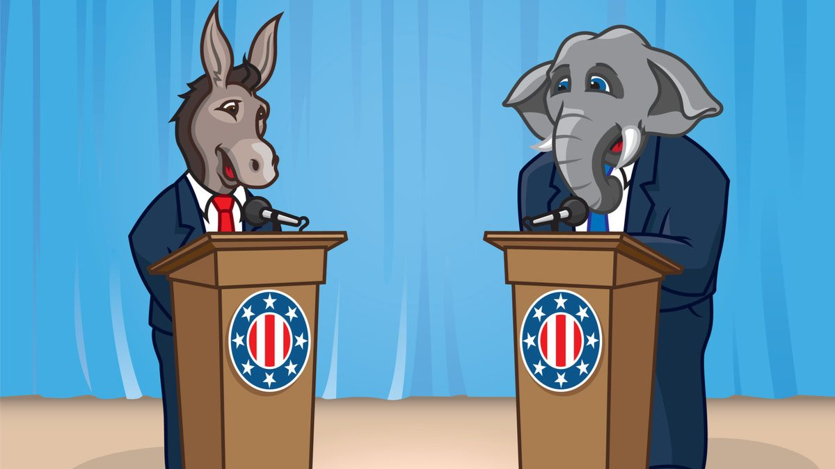 A cartoon of a donkey and elephant at debate podiums.