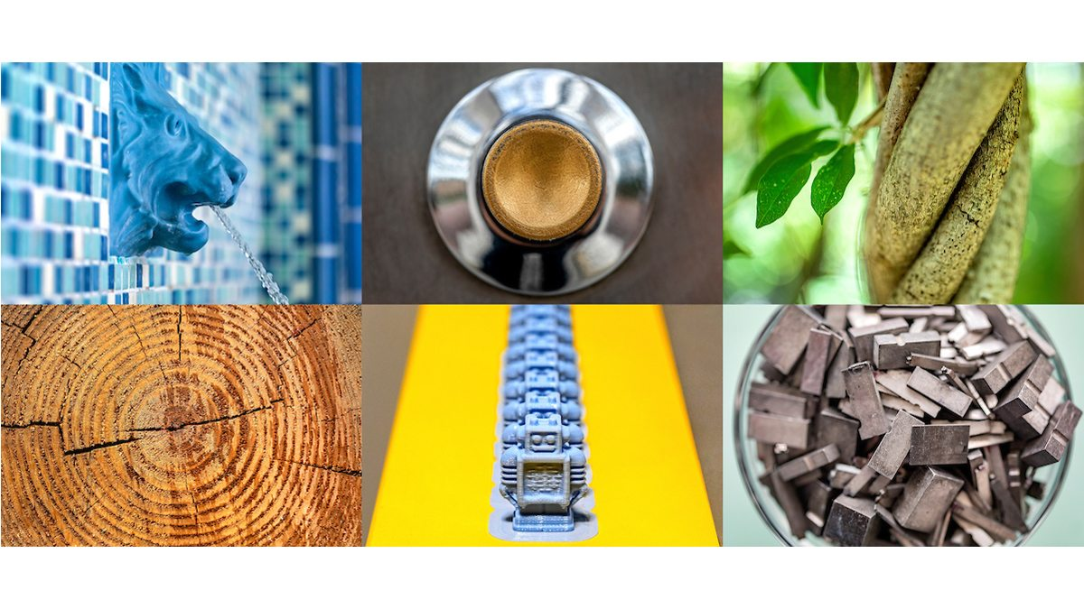 A collage of photos that includes a sculpture of a lion head as a fountain; a silver and brass button on the Old Well; branches of a tree wrapping around each other; the rings of a cut tree trunk; blue 3D printing robots in a line; and a cup of steel pieces from a letter press.