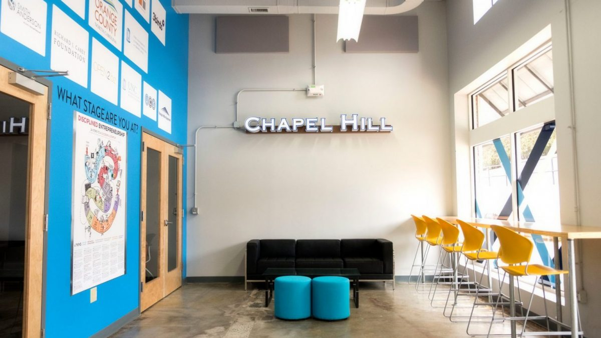 The interior of Launch Chapel Hill.