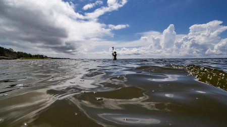 A person standing in the ocean with science equipment.