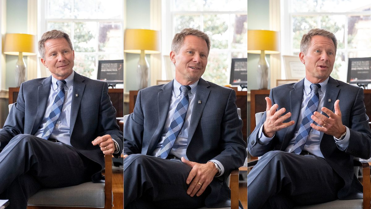 A collage of three photos of Chancellor Kevin Guskiewicz talking in a chair in his office.