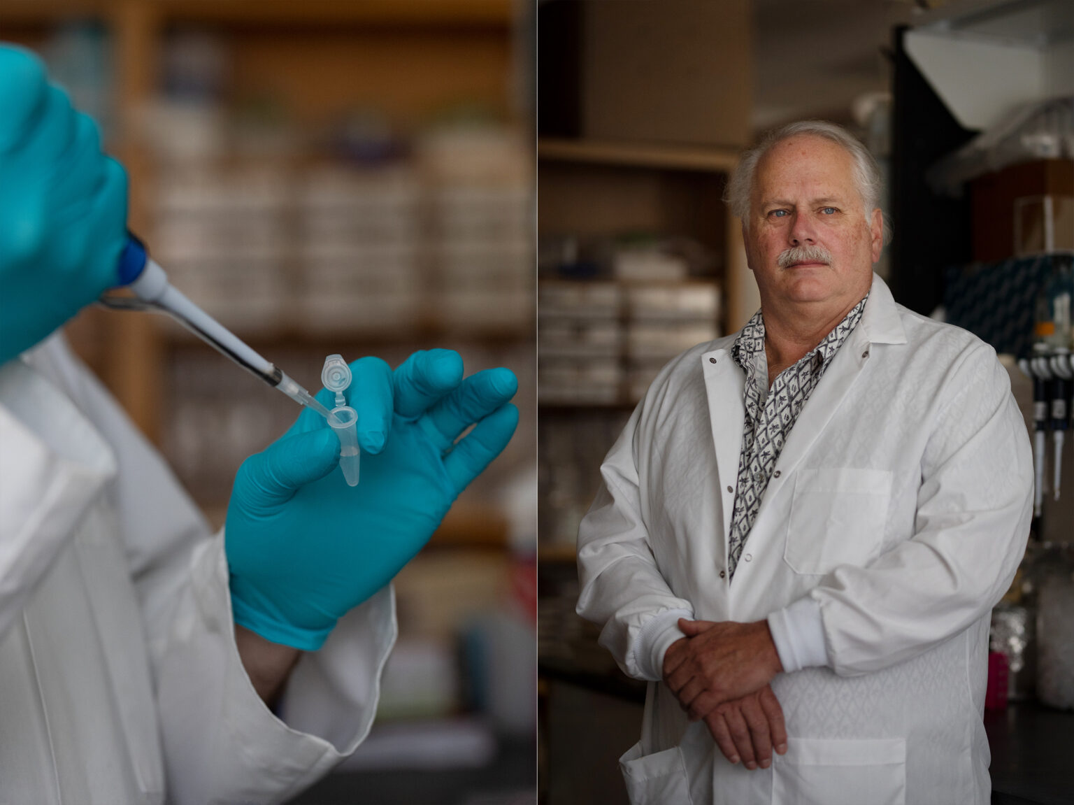 On the left, a research puts a sample in a vile. On the right, Ralph Baric poses for a photo in his lab.
