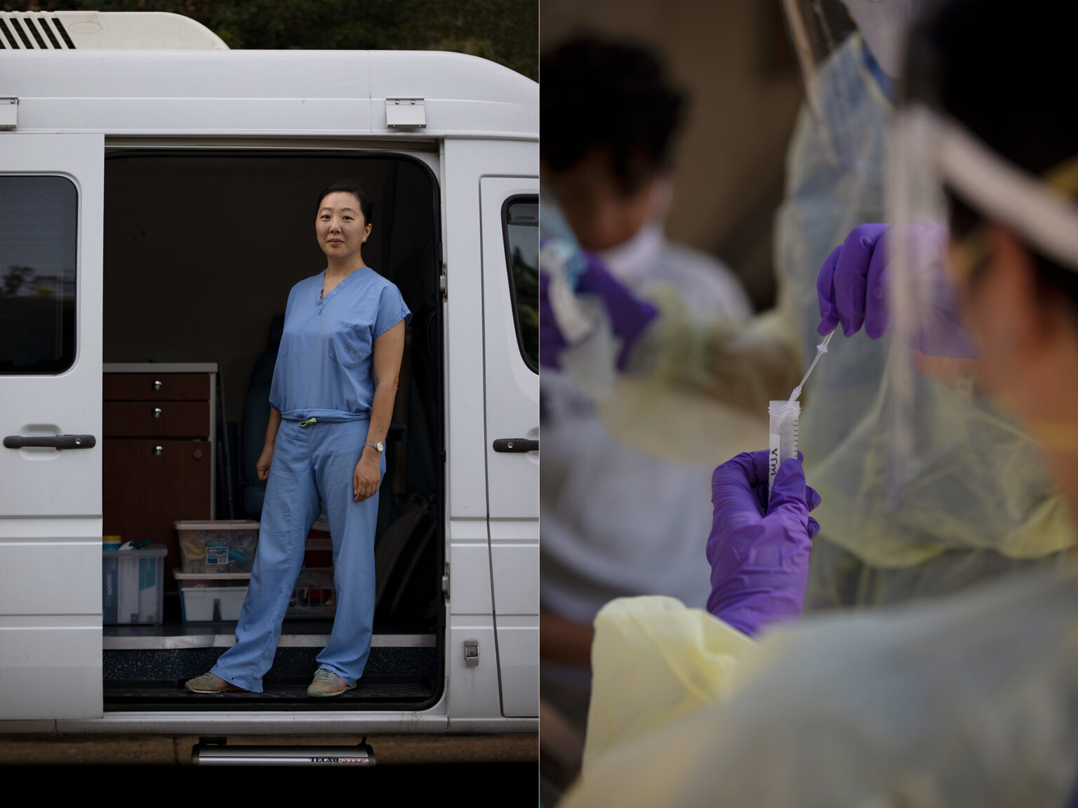 Jessica Lin stands in a van and a researcher places a sample in a vile.
