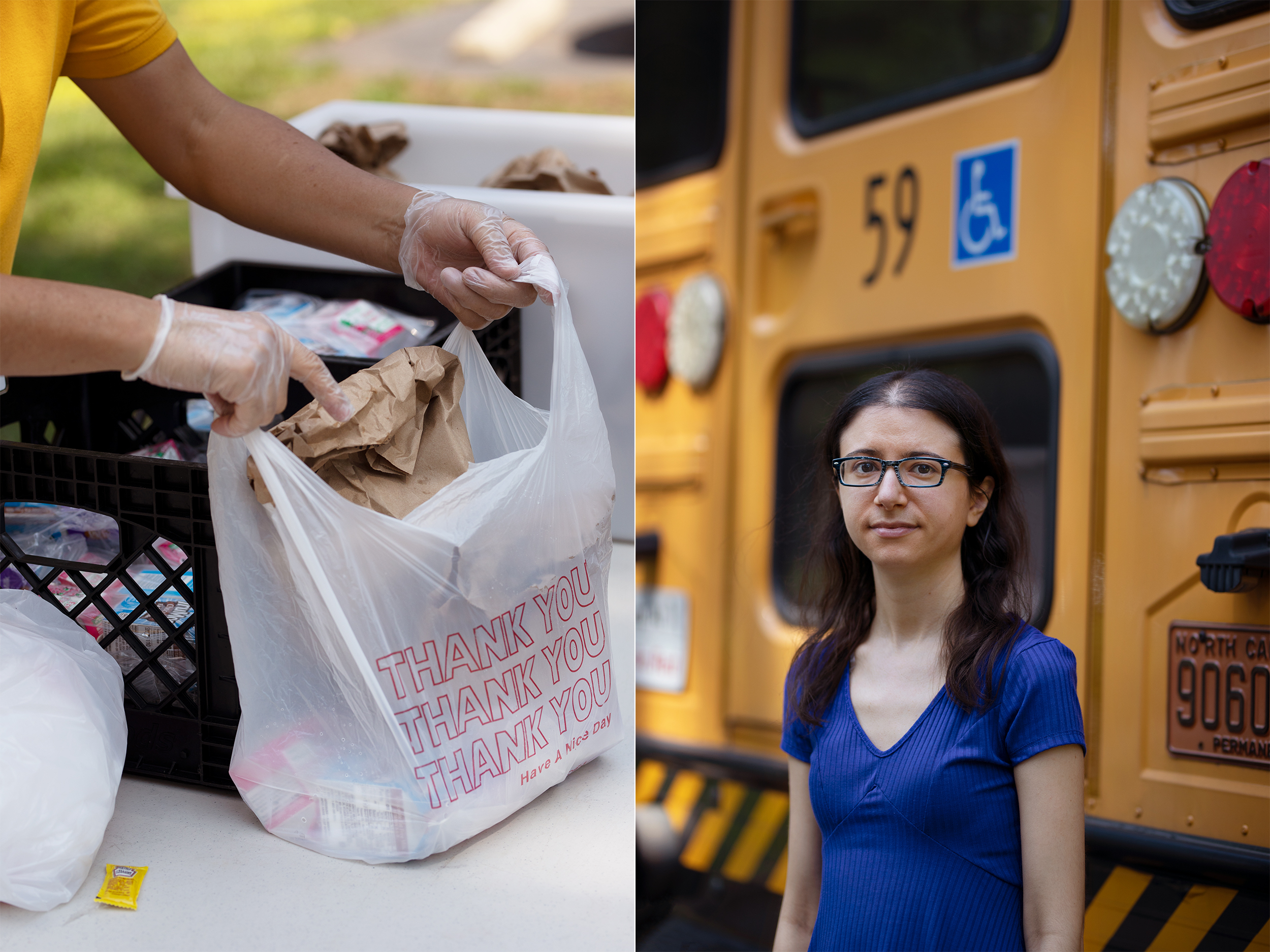 On the left, a person packs a bag with food. On the right, Jessica Soldavini poses for a photo never to a school bus.