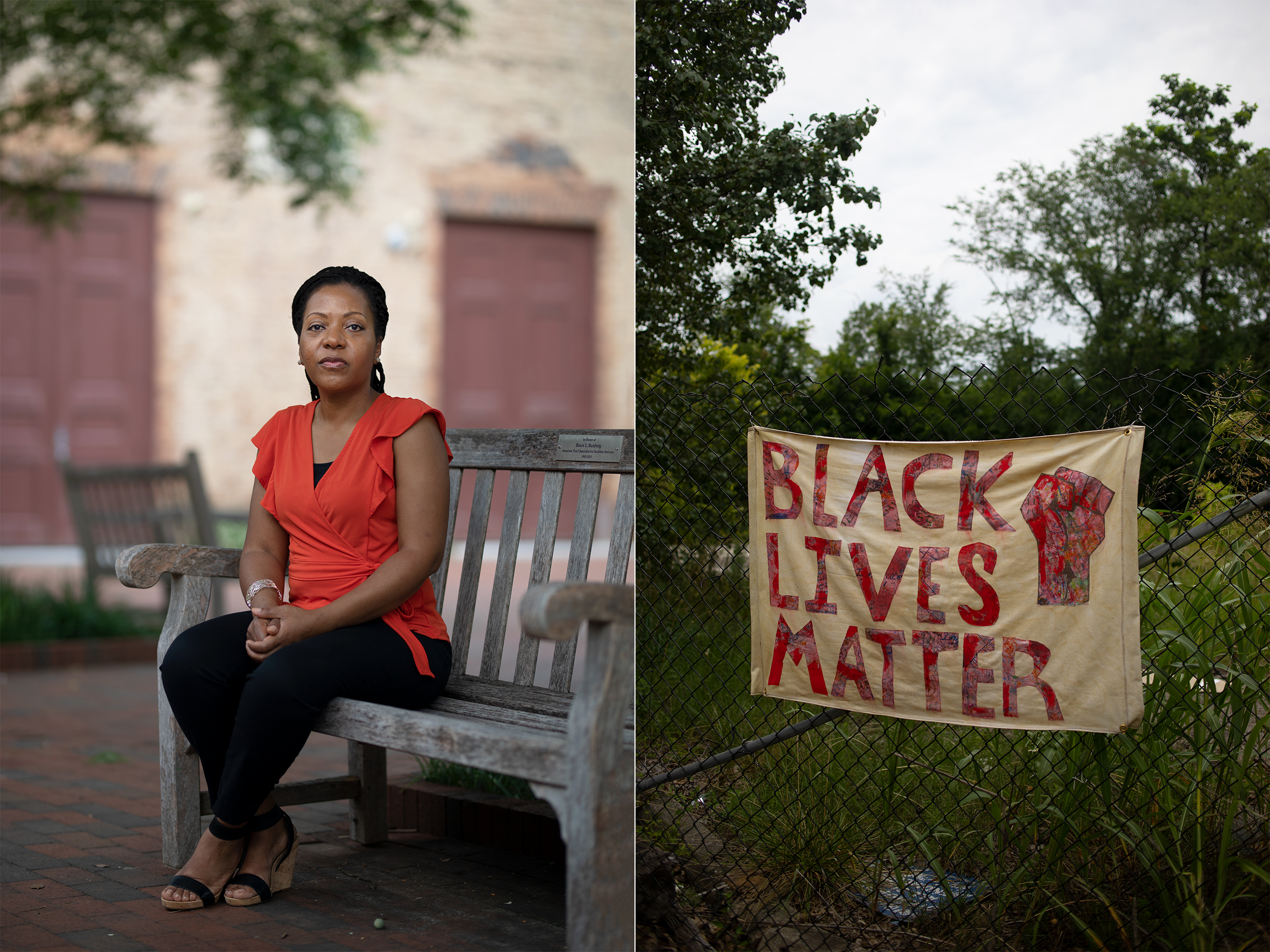 "On the left, Kia Caldwell sits on a bench. On the right, a banner that reads ""Black Lives Matter"" is drapped on a fence."