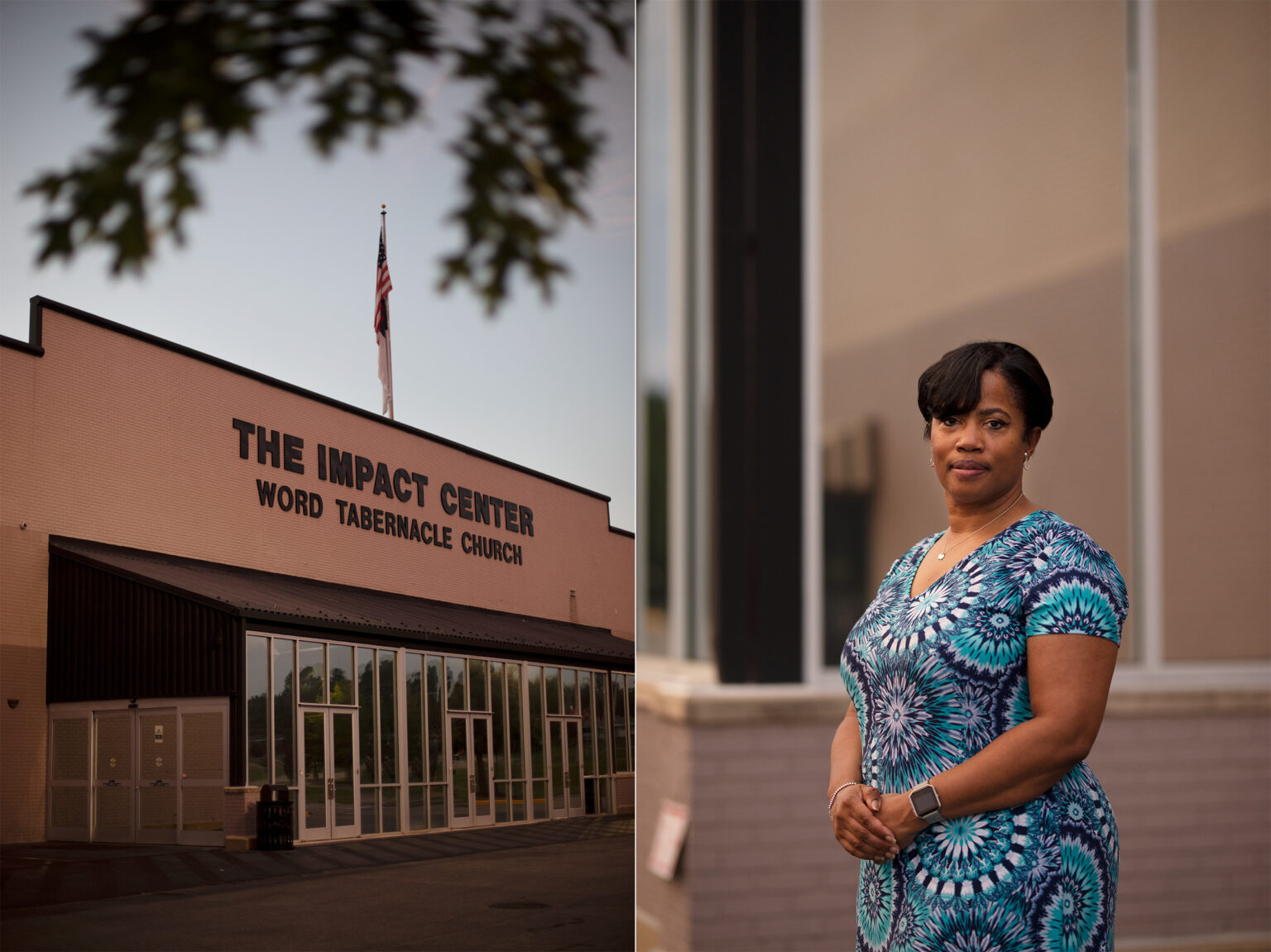 On the left, the exterior of the Impact Center. On the right, Lori Carter-Edwards poses for a photo.