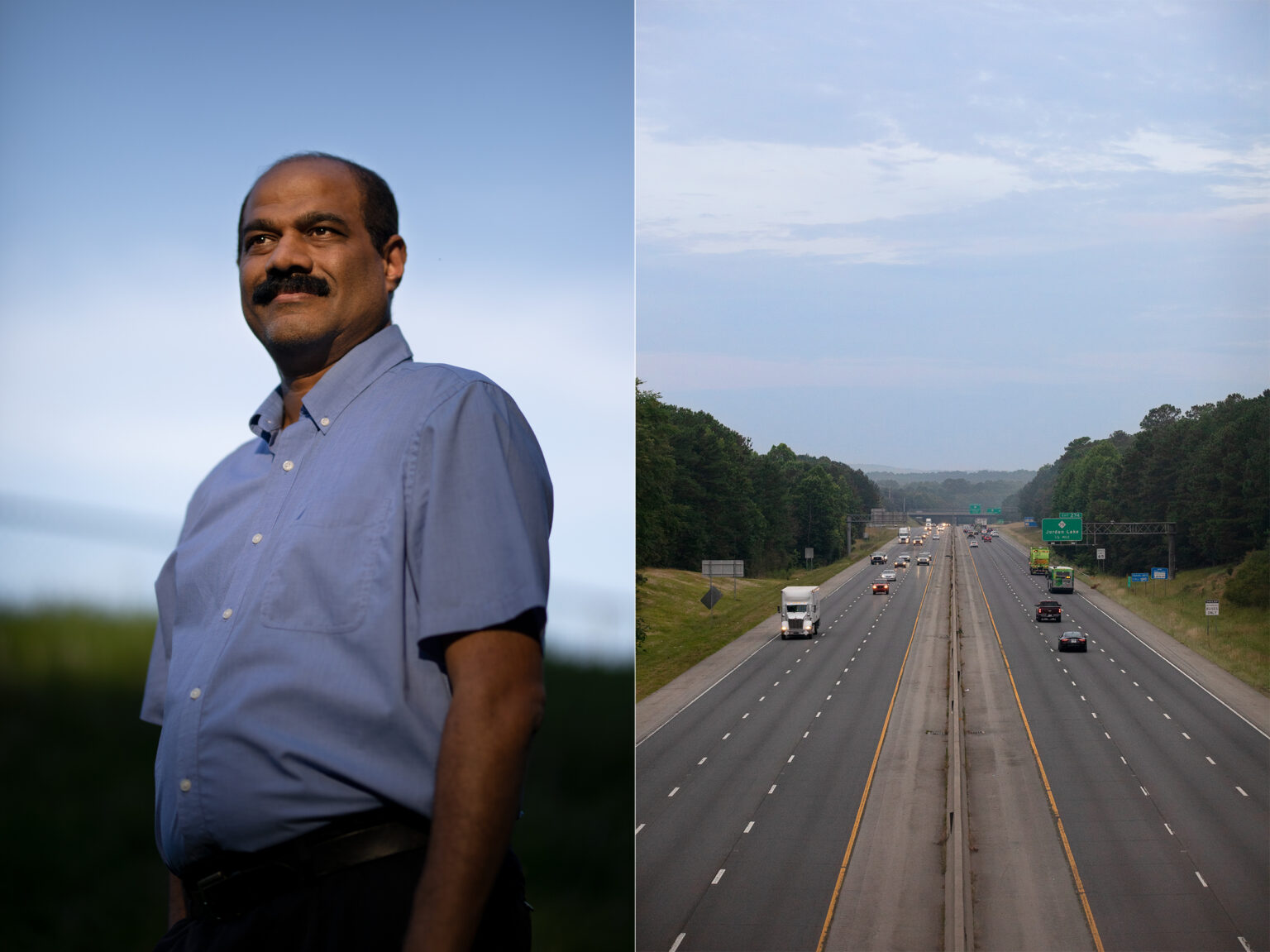 On the left, Sarav Arunachalam poses for a photo. On the right, an aerial photo of a highway.