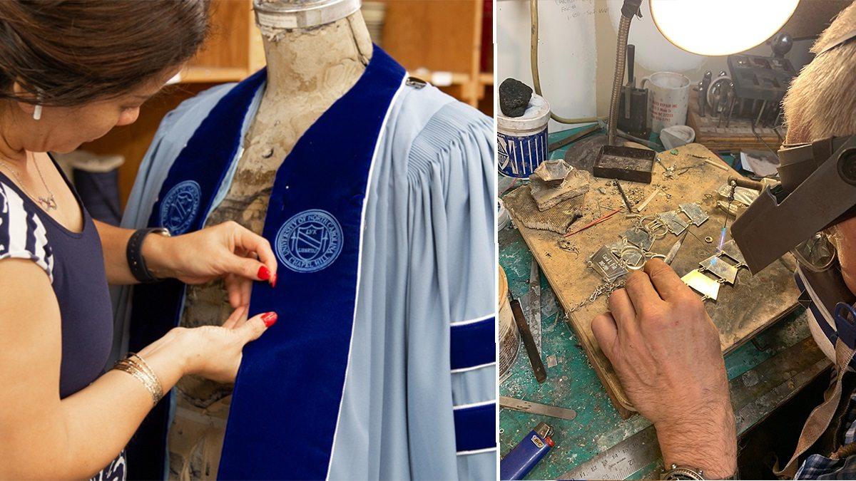A women sews regalia and a silversmith engraves a medallion plate.