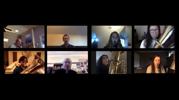 A screenshot of a zoom class with students playing instruments.