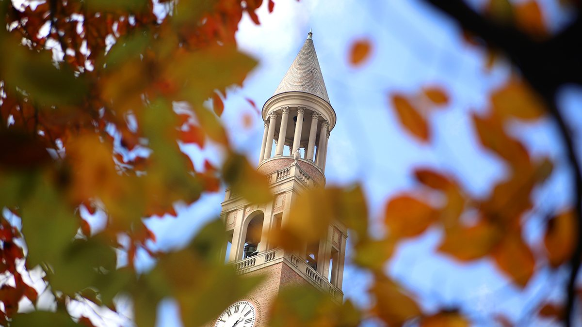 The Bell Tower with fall leaves in the foreground.