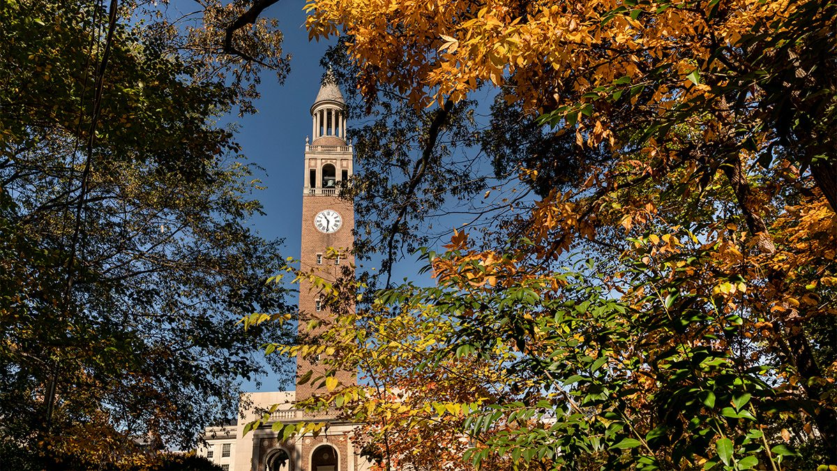The Bell Tower with fall leaves.