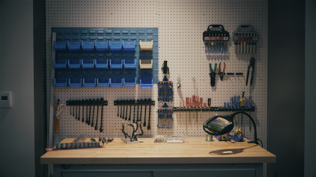 A workbench with tools.