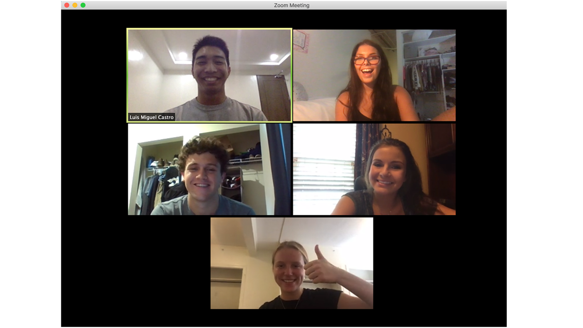 UNC students on zoom call