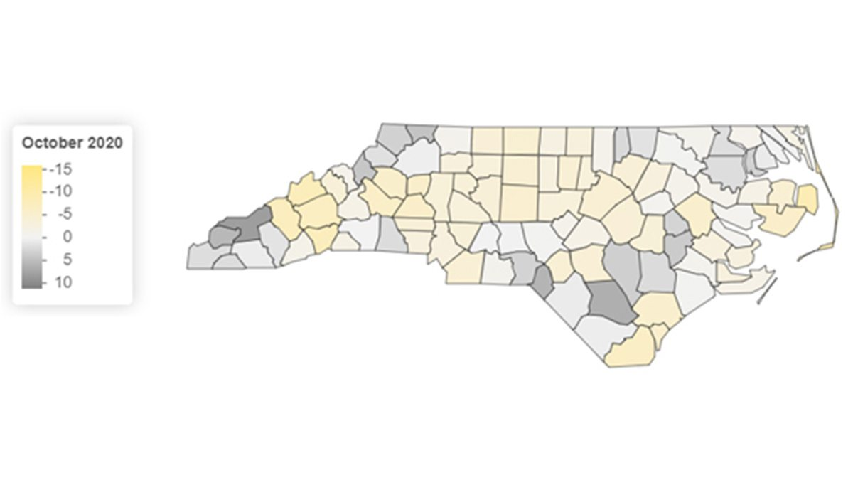 A map of North Carolina seperated into counties to represent labor force representation.