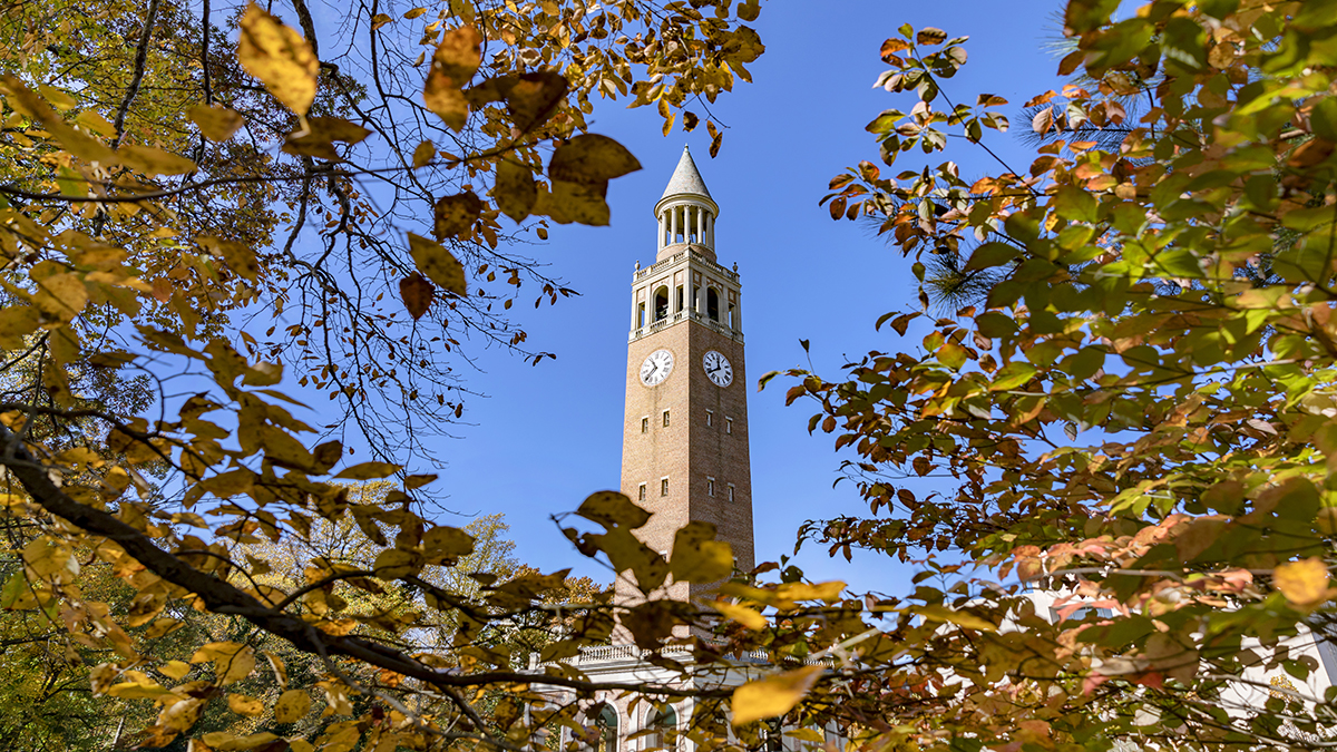 UNC Bell Tower peaking through trees