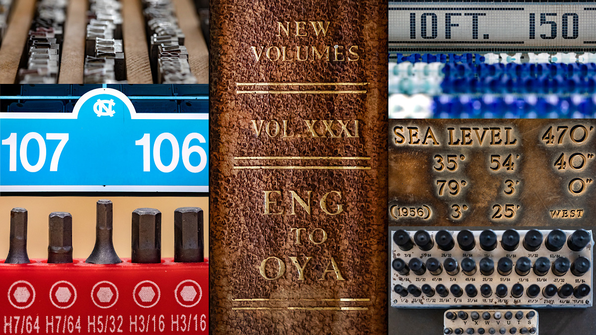 A collage of photos including metal lettertypes, a section sign of Kenan Stadium, drill bits, the spine of a book, the