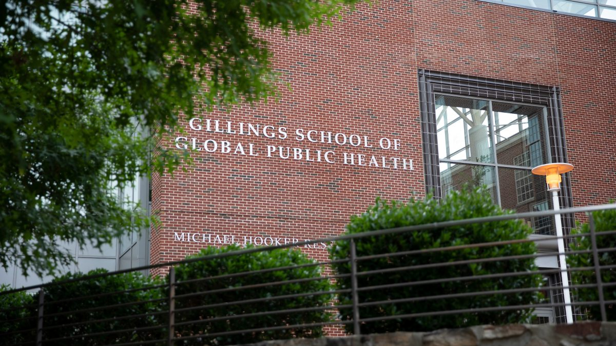 The exterior of Gillings School of Global Public Health
