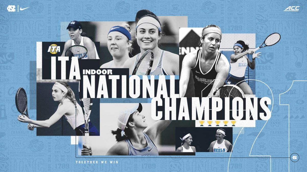 Graphic with several images of Carolina tennis players