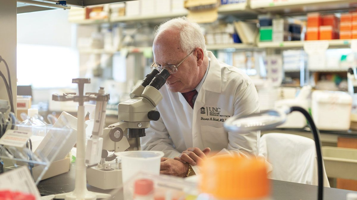 Dr. Steven Zeisel peers into a microscope.