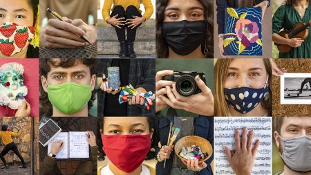 A collage of photos of people wearing masks and holding their art.