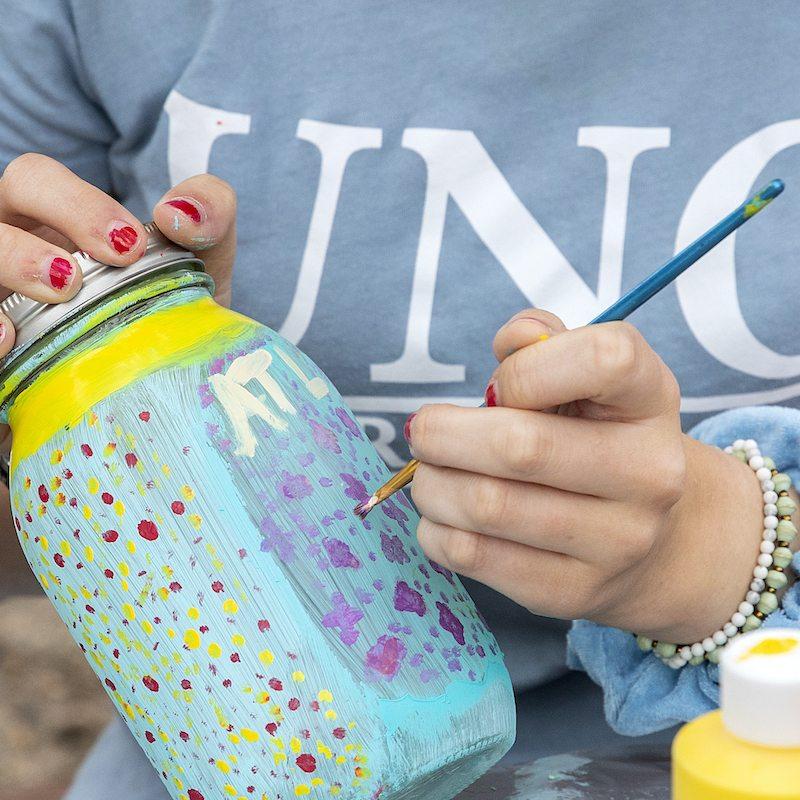 UNC student paints mason jar