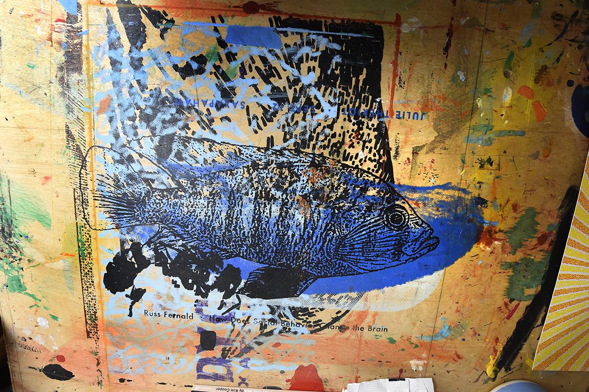 A screenprint of a fish