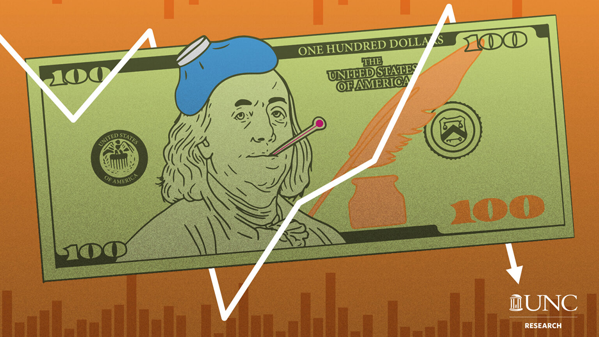 A graphic of a $100 bill with Ben Franklin looking sick.