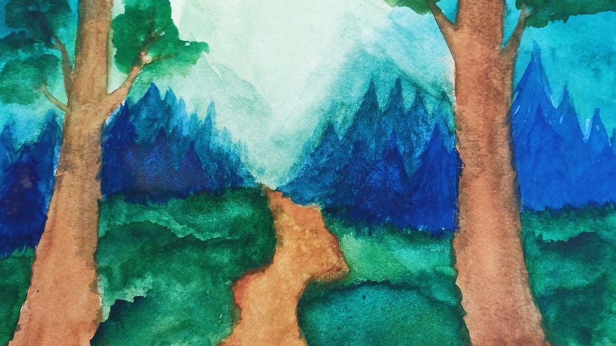 Watercolor landscape painting of a forest.