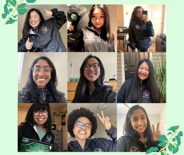 A collage of nine photos of students running pearl hacks.