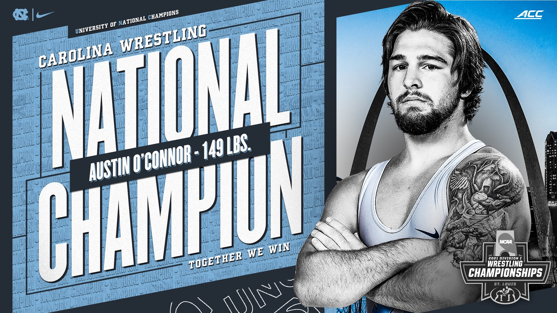 Carolina wrestling National Champion: Austin O'Connor.