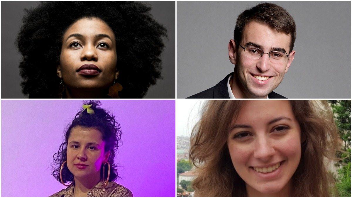 2021 Arts Innovation Grant winners: AhDream Smith, Matthew Svec, Emily Harmon, and Krysta Sa (L-R, clockwise).