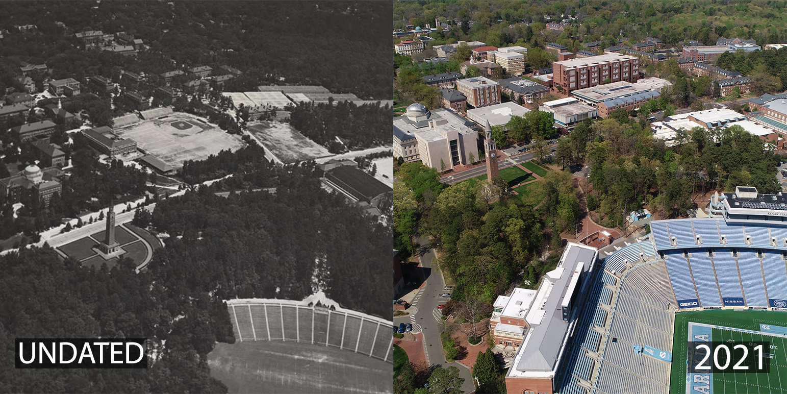A montage of aerial shots of Carolina's campus, including an undated image of Emerson Field and a 2021 image of build on the Emerson field site.