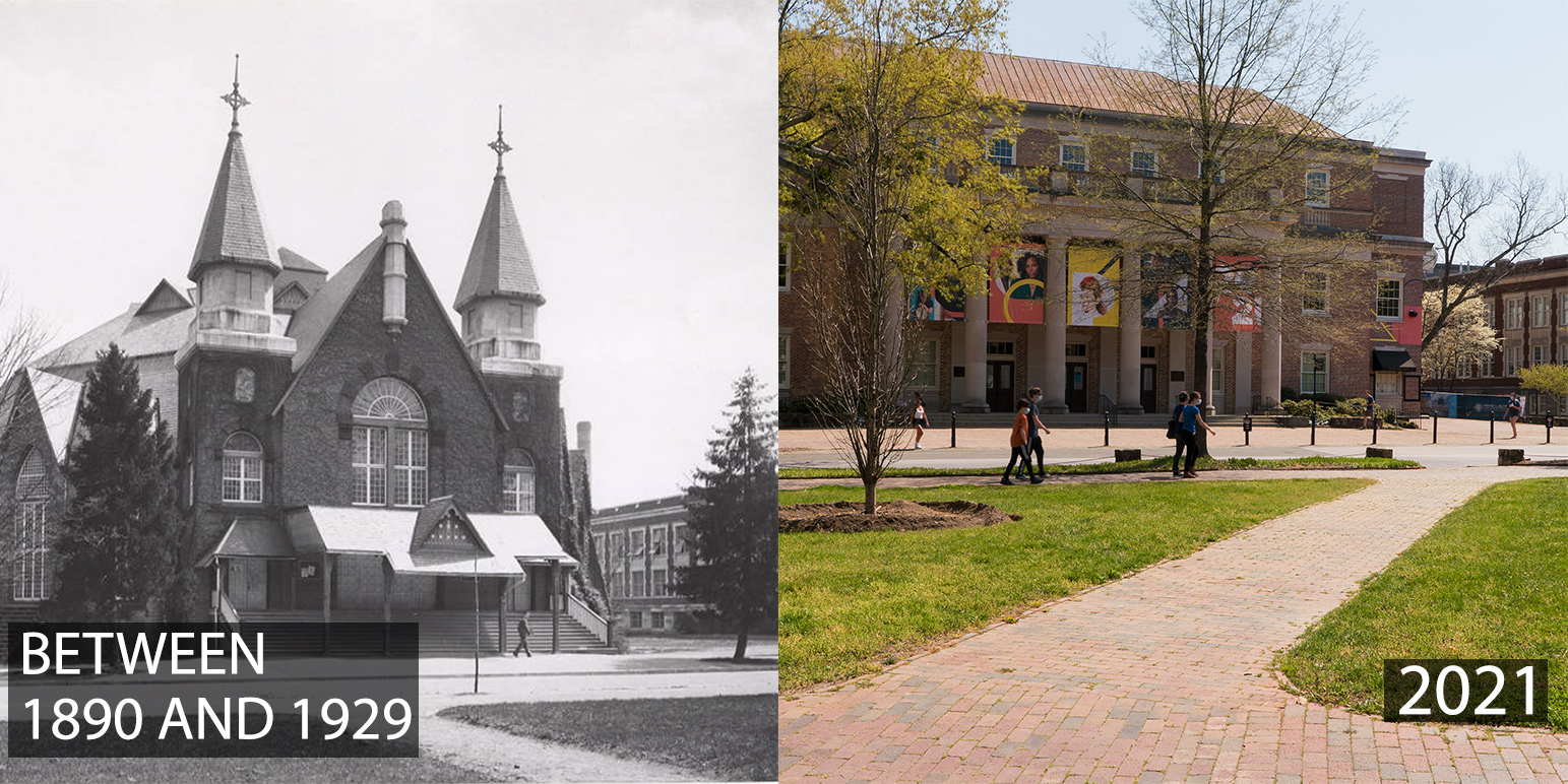 A montage of photos of Memorial Hall between 1980 and 1929, and Memorial Hallin 2021.