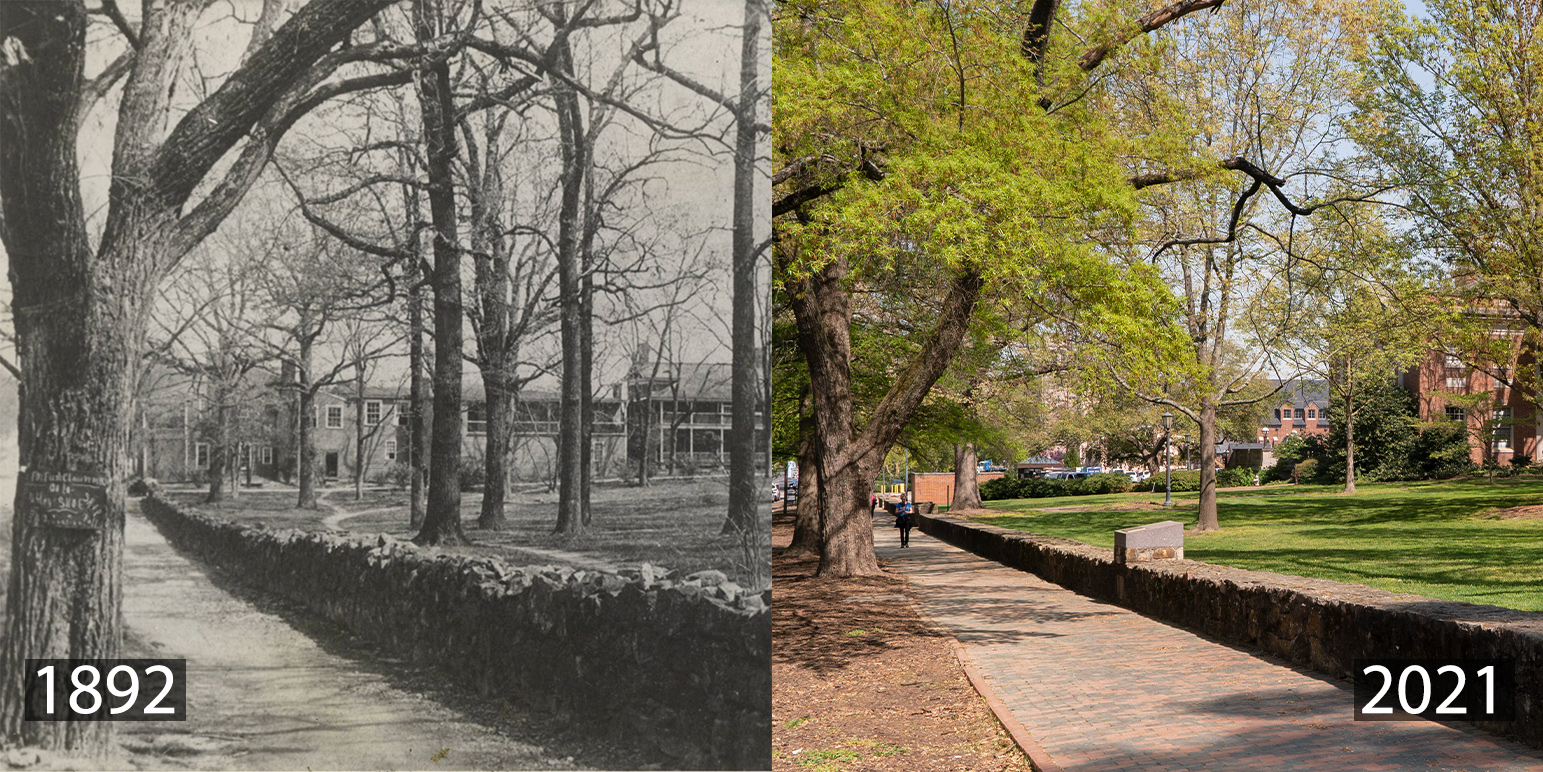 A montage of photos including the Eagle Hotel in 1891 and the same site in 2021, without the Eagle Hotel.
