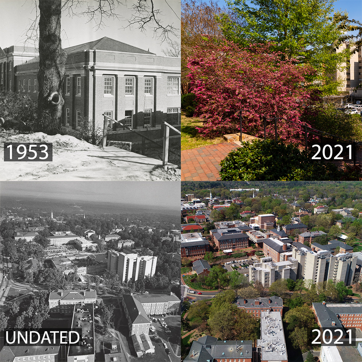 A montage of photos, including Venable Hall in 1953 and in 2021