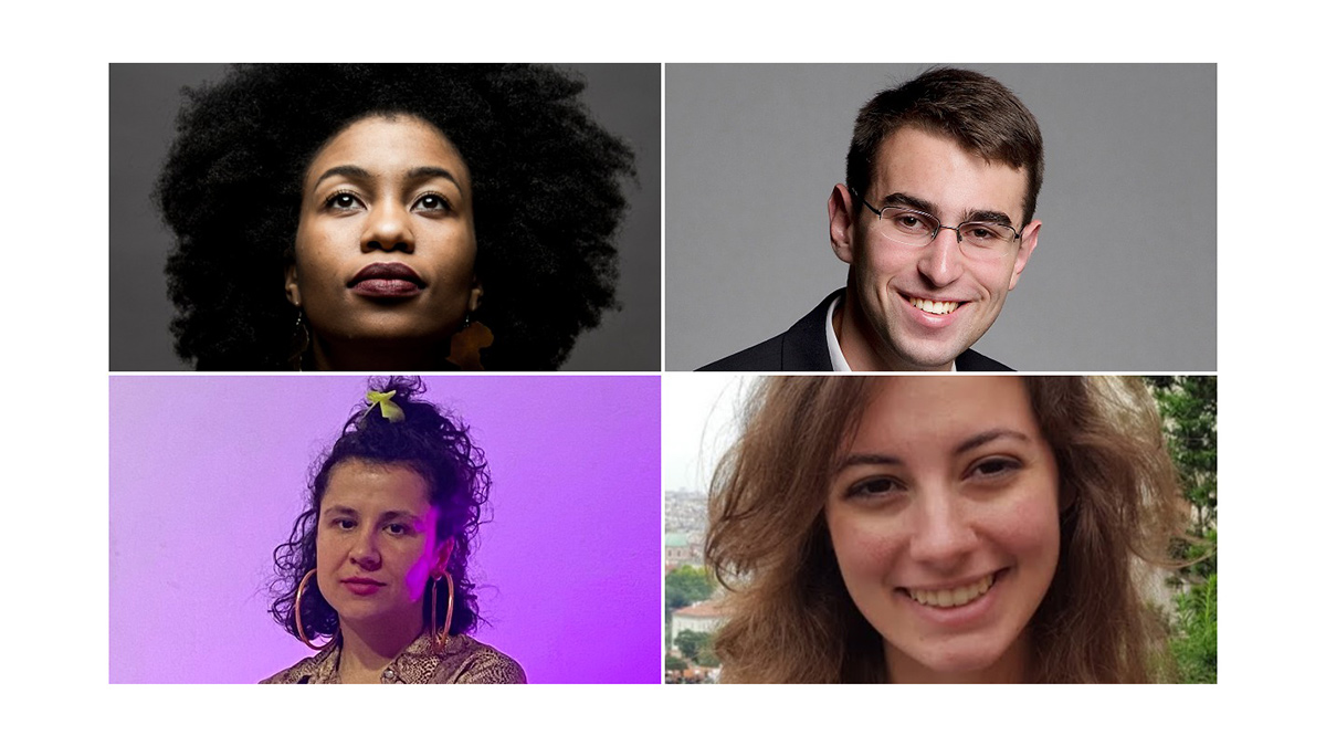 2021 Arts Innovation Grant winners: AhDream Smith, Matthew Svec, Emily Harmon, and Krysta Sa (L-R, clockwise).