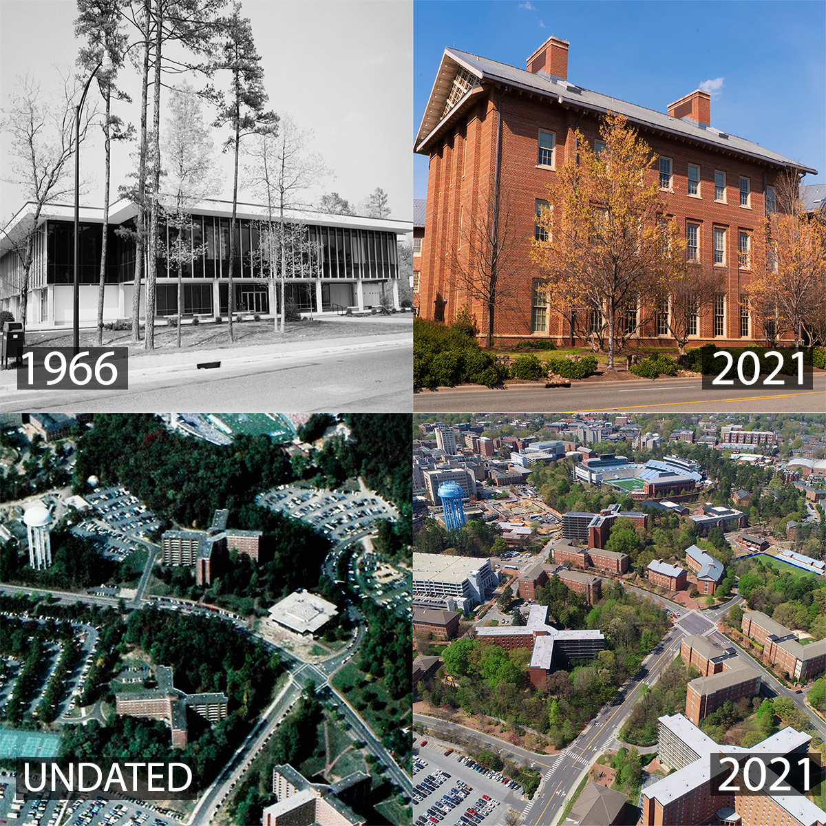 A montage of photos, including Chase Dinining hall in 1966 and 2021.