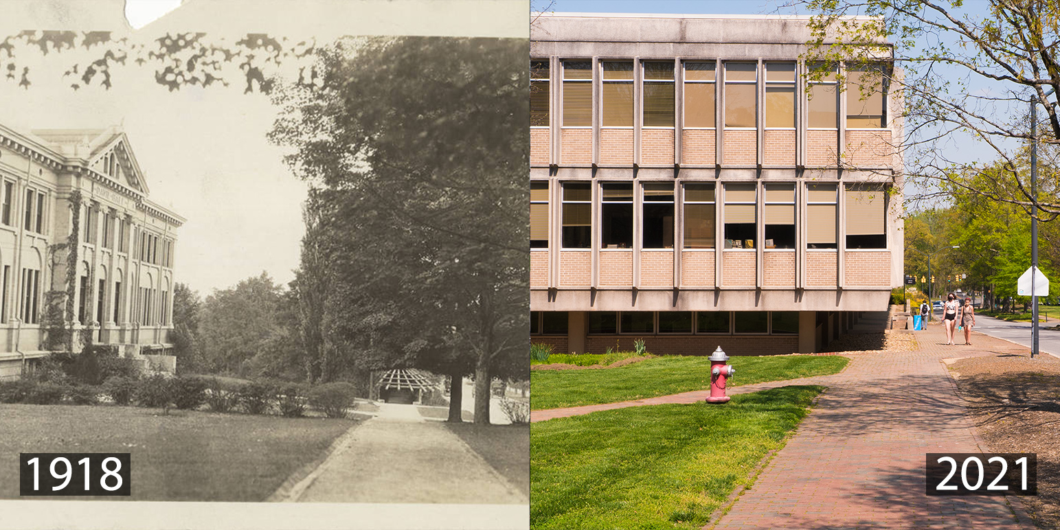 A montage of photos of Davie Hall in 1918 and 2021.