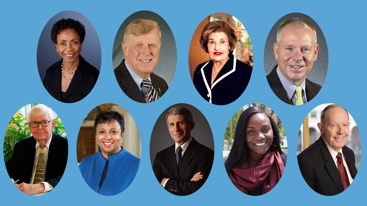 A collage of photos that includes Bernadette Gray-Little, Don Curtis, Anne Cates, W. Lowry Caudill, William Edward Leuchtenburg, Carla Hayden, Dr. Anthony Fauci and Isaac Beverly Lake Jr.