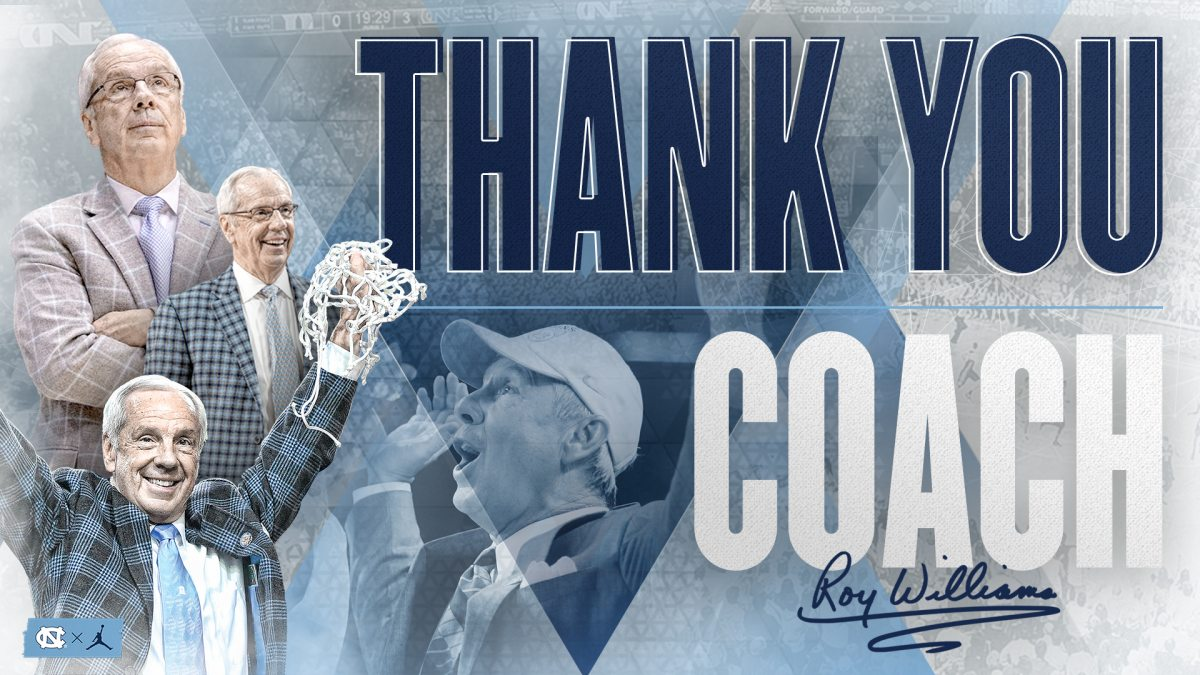Photos of Roy Williams with text that reads
