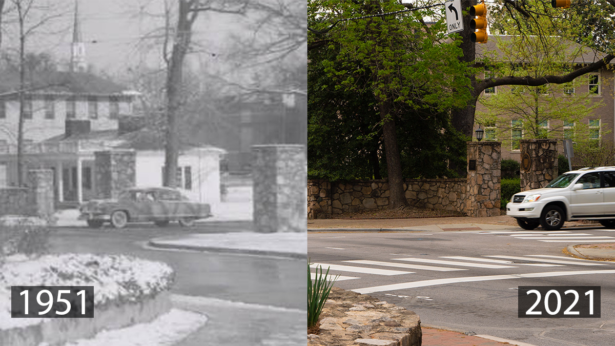 A montage of photos of the Scuttlebutt in 1951 and 2021