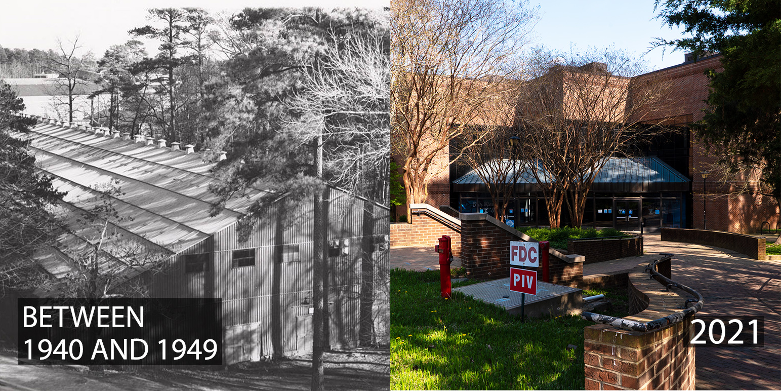 A montage of photos, including the site of the the Tin Can between 1940 and 1949, and the location in 2021.