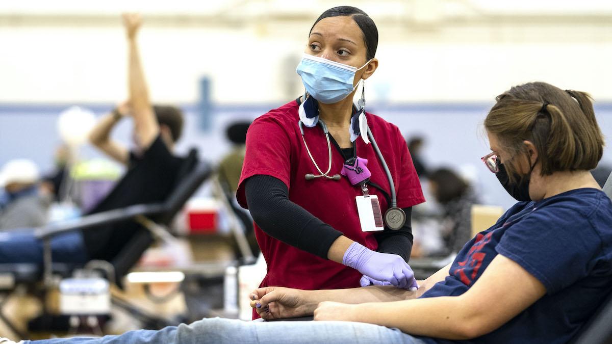 An American Red Cross nurse draws blood at the Carolina Blood Drive.