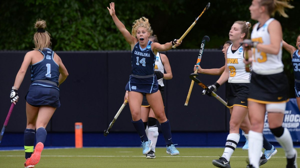 Katie Dixon celebrates after scoring a goal.