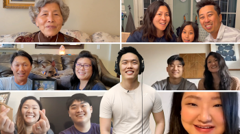 A collection of several photos of Noah Won's family members congratulating him.