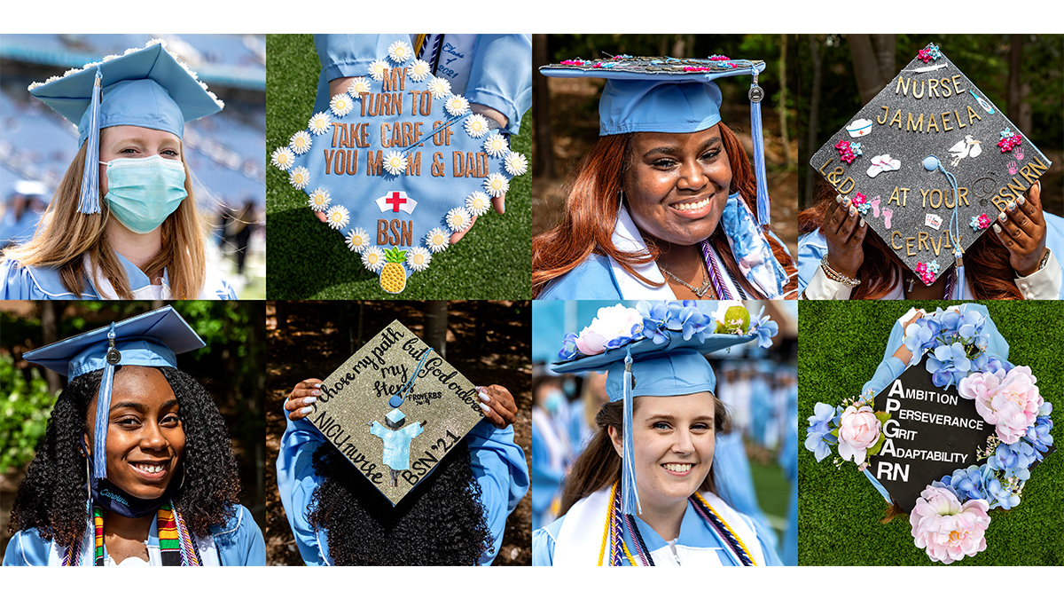 Students wearing graduation caps with designs on them.