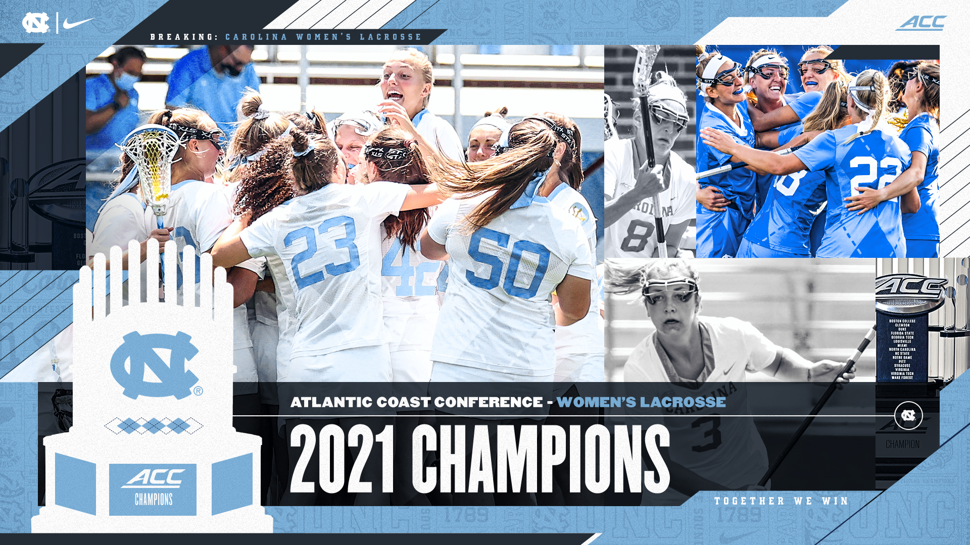 Photos of the women's lacrosse team celebrating with text that reads