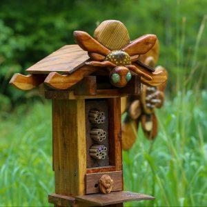 A bee hotel in the North Carolina Botanical garden.