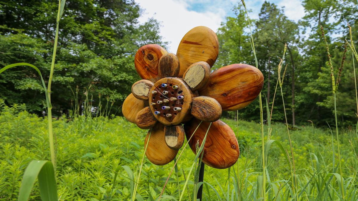A bee hotel exhibit at the North Carolina Botanical Garden.